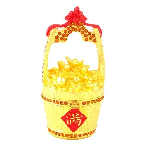 Bejeweled Overloaded Wealth Bucket for Prosperity and Good Fortune