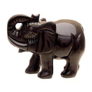 Black Obsidian Elephant with rising trunk