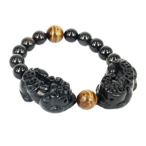 Black Obsidian Double Pi Yao Bracelet for Double Protection