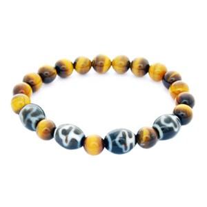 Bodhi Tree Dzi Beads with Natural Tiger Eye Bracelet