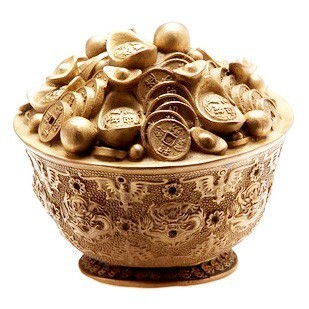 Overloaded Bronze Wealth Bowl with Golden Ingots and Coins