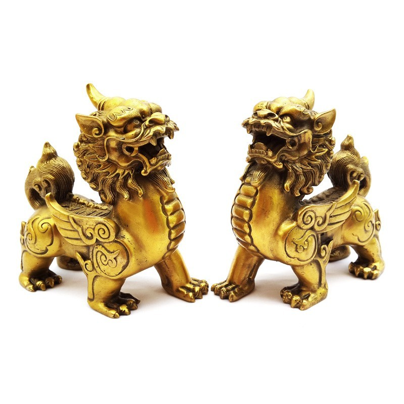 A Pair Of Bronze Flying Pi Yao For Protection and Good Fortune