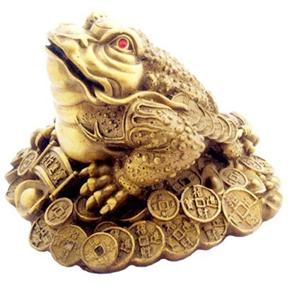 Bronze Money Frog on bed of Coins and Ingots