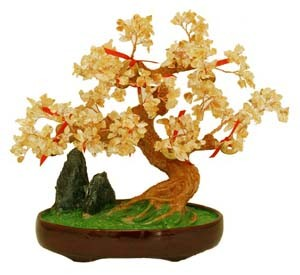 Large Citrine Tree with 9 Gold Coins for Great Wealth