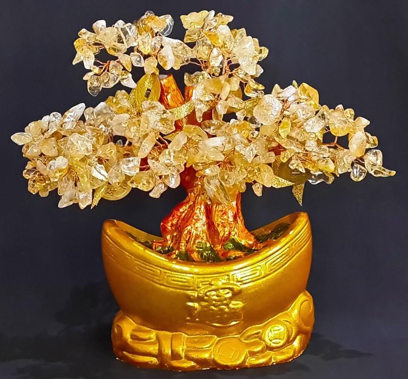 Feng Shui Bonsai Citrine Crystal Gemstone Tree with INGOT Base