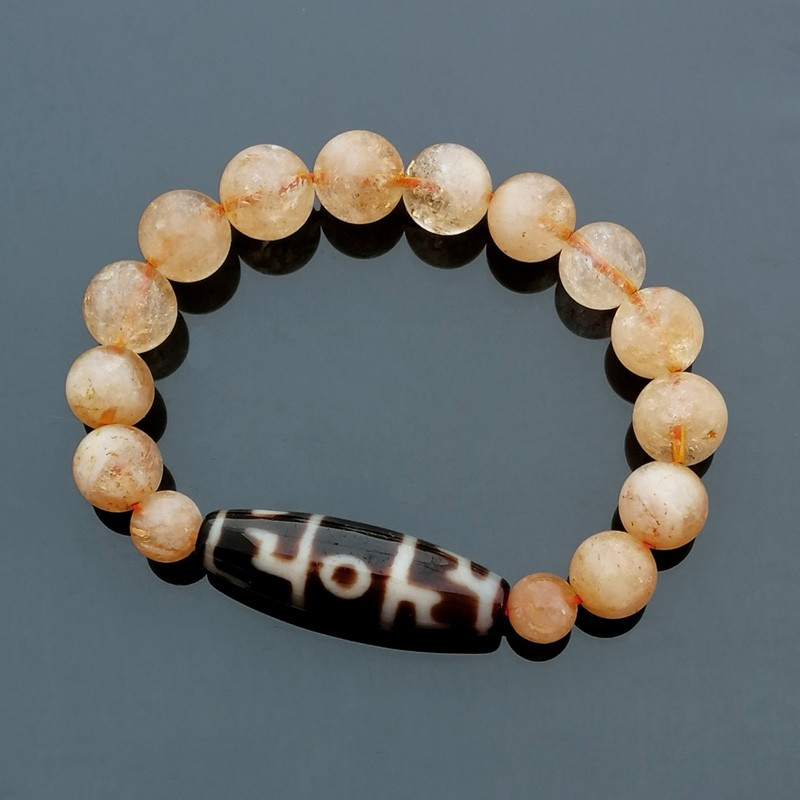 Authentic Tibetan Agate Dzi Bead Dharma Hat with Citrine Bracelet