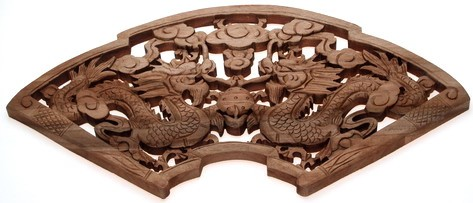 Wooden Carved Double Dragons Panel