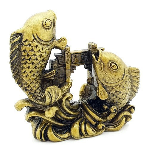 Double Carps Crossing Dragon Gate - Bronze