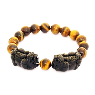 Black Obsidian Double Pi Yao Bracelet for Protection