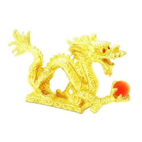 Golden Auspicious Dragon Grasping a Pearl