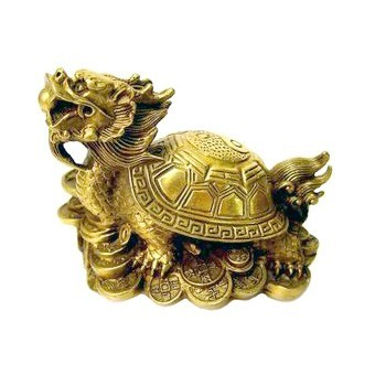 Bronze Dragon Tortoise with a Bagua Shell