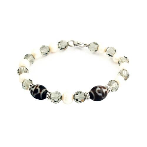 Bodhi Tree Dzi with Cultured Pearl and Swarovski Beads Bracelet