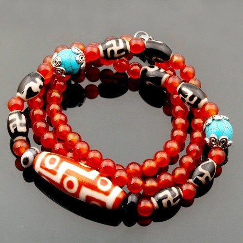 9 Eyed Dzi Bead Necklace