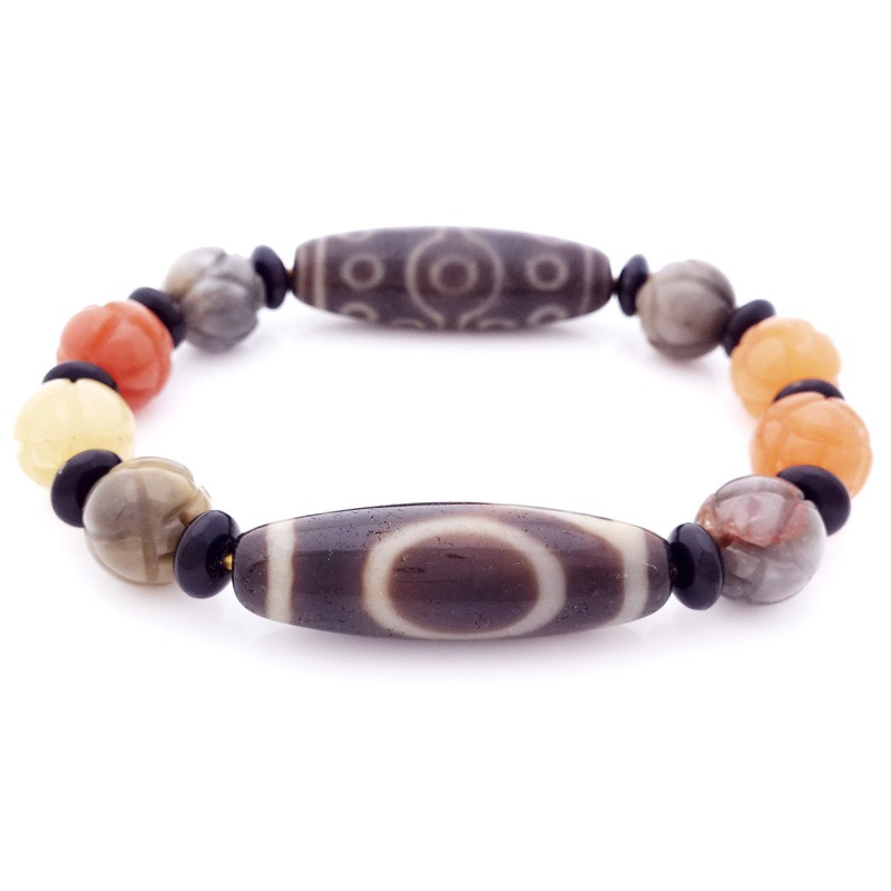 Authentic OLD Agate dZi Beads 1 Eye and 15 Eyes Bracelet for Wish-Fulfillment and Promotion
