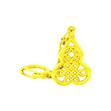 Golden Wu Lou with Coin and Mystic Knot Keychain