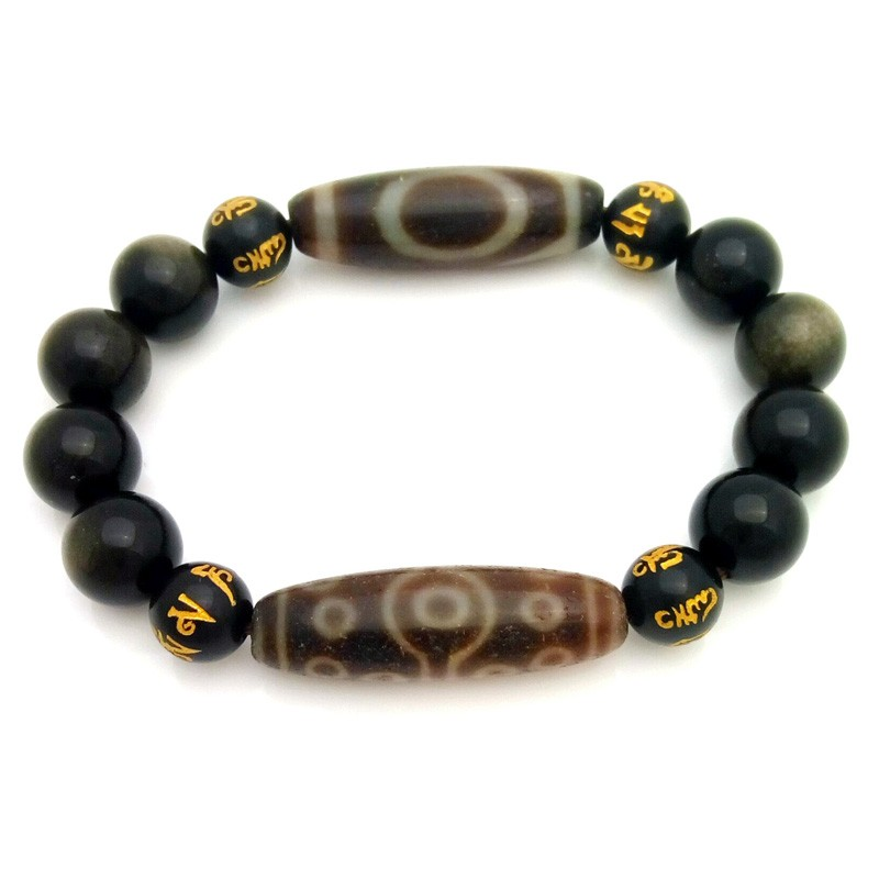 Feng Shui Old Agate dZi Beads Combo Bracelet for Wish-Fulfillment and Promotion
