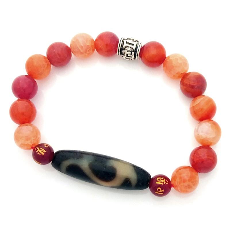 Feng Shui Tibetan OLD Agate RU YI dZi Bead Bracelet for Authority and Auspiciousness