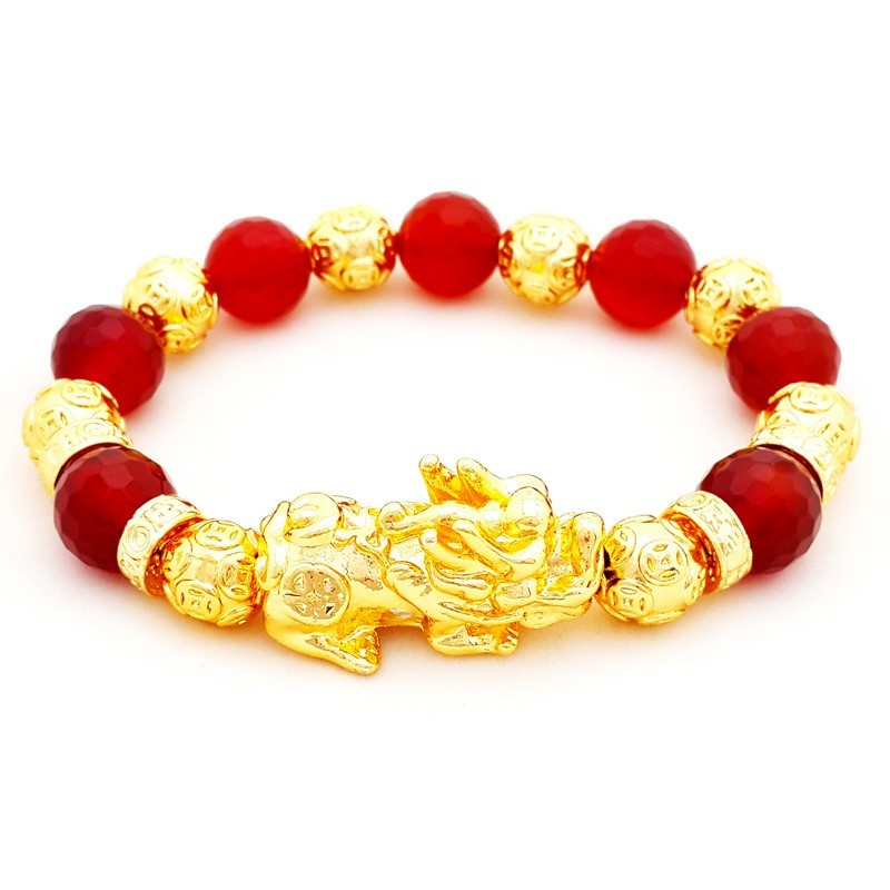 Natural RED Agate Crystals with Feng Shui Golden Pi Yao Pi Xiu Bracelet