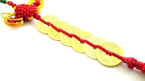 Feng Shui Six Emperor Gold Coins Tassel with Red Mystic Knot