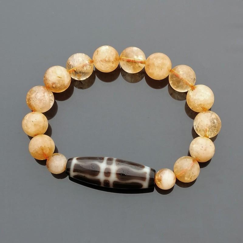 Authentic Tibetan Agate Dzi Bead Golden Dorje with Citrine Bracelet
