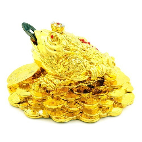 Three Legged Toad on Bed of Coins - Golden