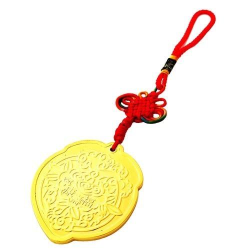 Golden Longevity Peach with Pi Kan Amulet