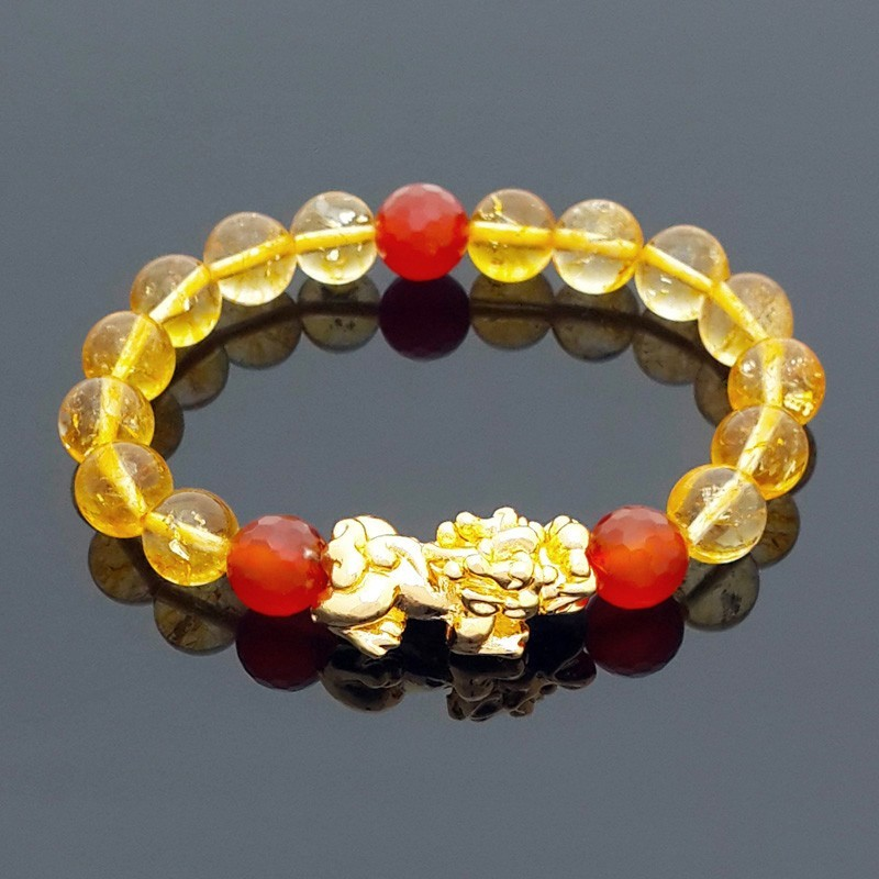 Feng Shui Natural Citrine Crystal with Golden Pi Yao Lucky Amulet Bracelet