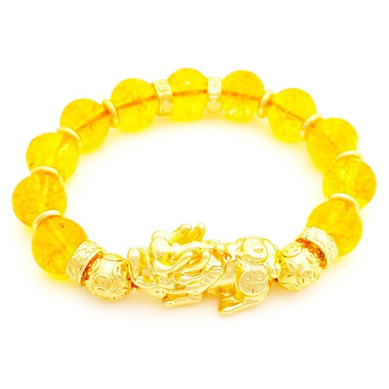 Feng Shui Citrine Crystals with Golden Pi Yao Good Luck Amulet Bracelet