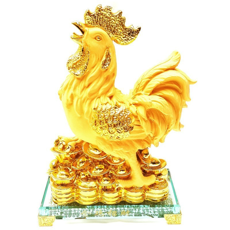 Feng Shui Golden Rooster with Gold Coins and Ingots