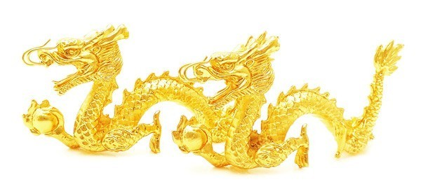 A Pair of Gold Plated Pewter Twin Dragons