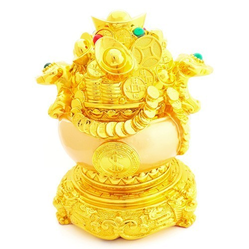 Feng Shui Golden Wealth Pot with Gold Ingots and Gold Coins