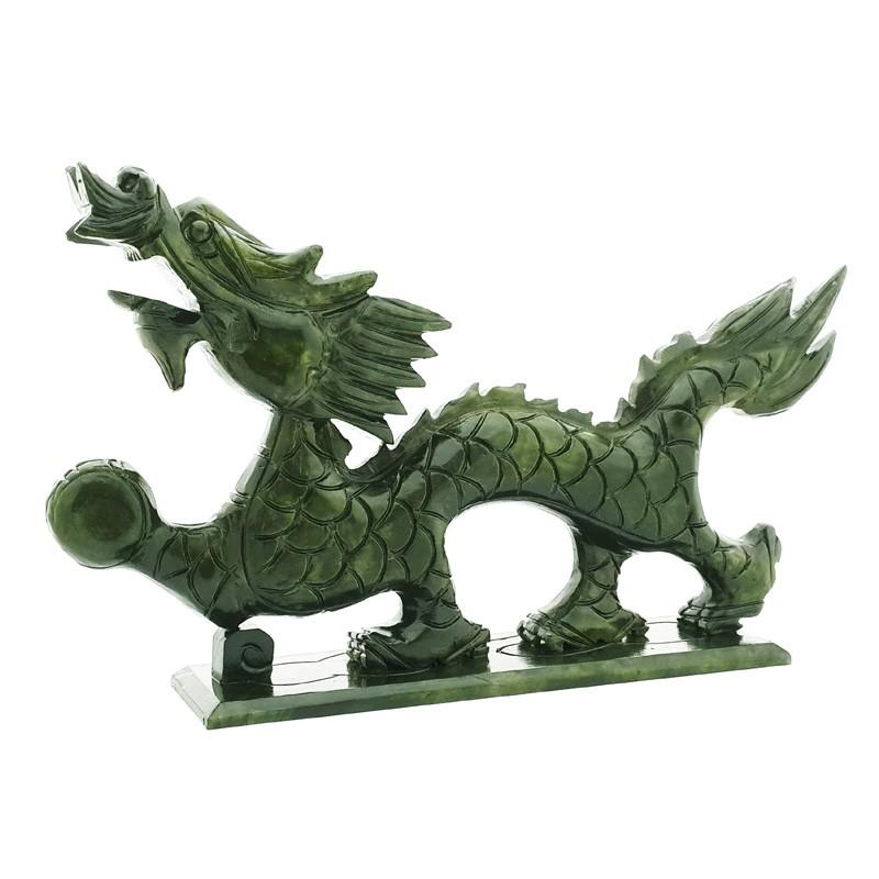 Good Fortune Natural Green Jade Dragon