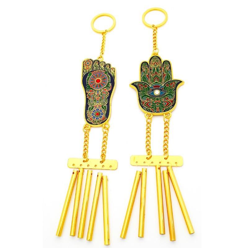 Hamsa Hand and Buddha Foot Feng Shui Windchimes