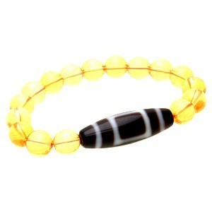 Heaven & Earth Dzi Bead with 10mm Smooth Citrine Bracelet