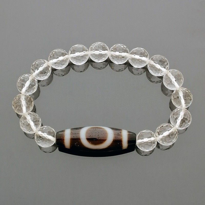 Heaven & Earth Dzi Bead with 8mm Faceted Clear Quartz Bracelet