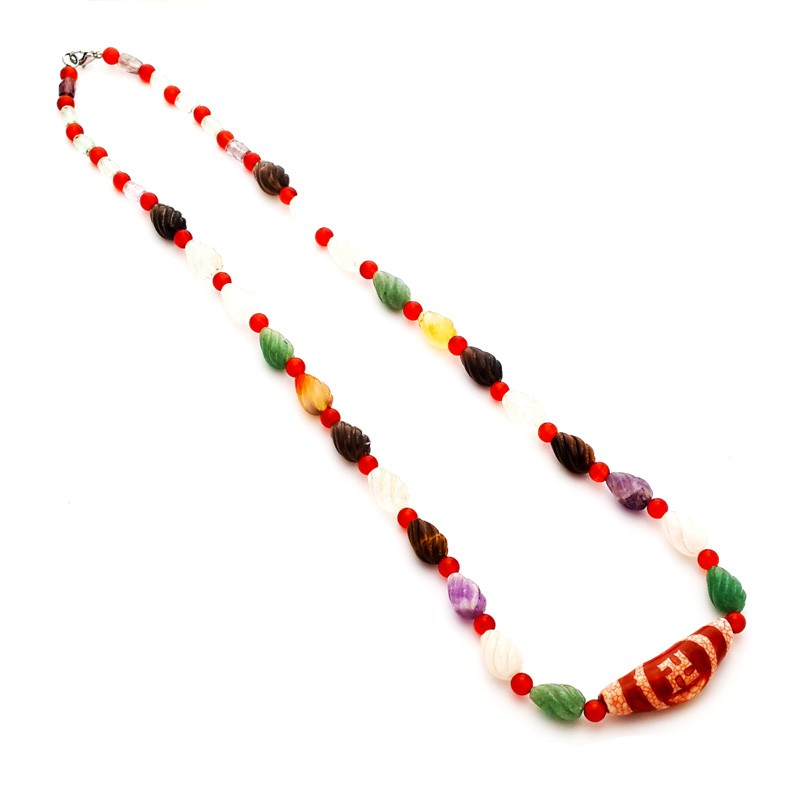 Authentic Tibetan HOTU Agate Dzi Bead Necklace for Ultimate Protection and Good Luck