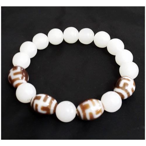Hotu Dzi Beads with White Jade Bracelet