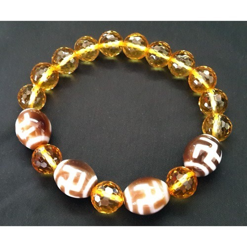 Hotu Dzi Beads with 8mm Faceted Citrine Bracelet