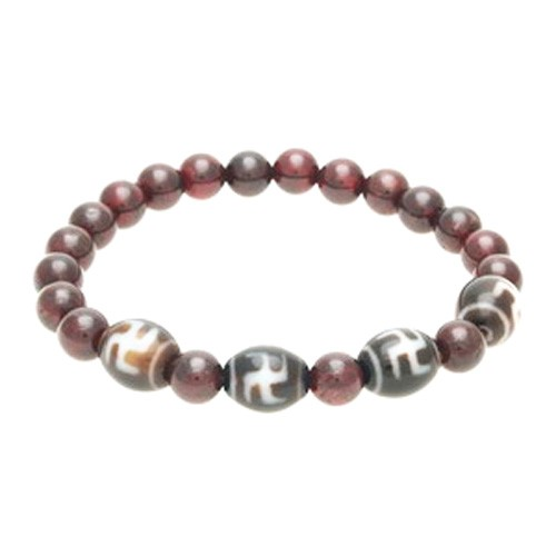 Hotu Dzi Beads with Natural Red Garnet Bracelet