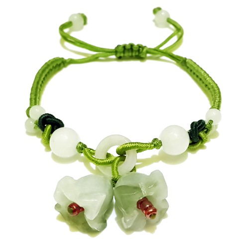 The Double Jade Flowers Charm Bracelet