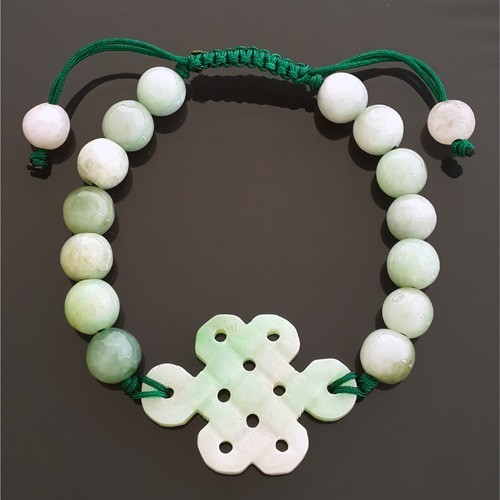 Jade Mystic Knot Bracelet for Good Fortune