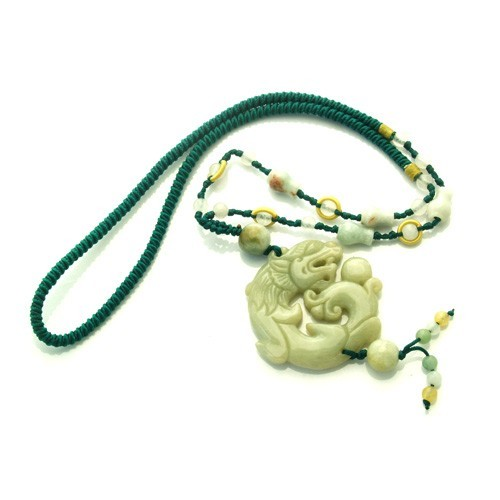Jade Dragon Necklace for Good Fortune