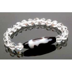 Kuan Yin Dzi Bead with Swarovski Crystal Bracelet ( CLEAR)