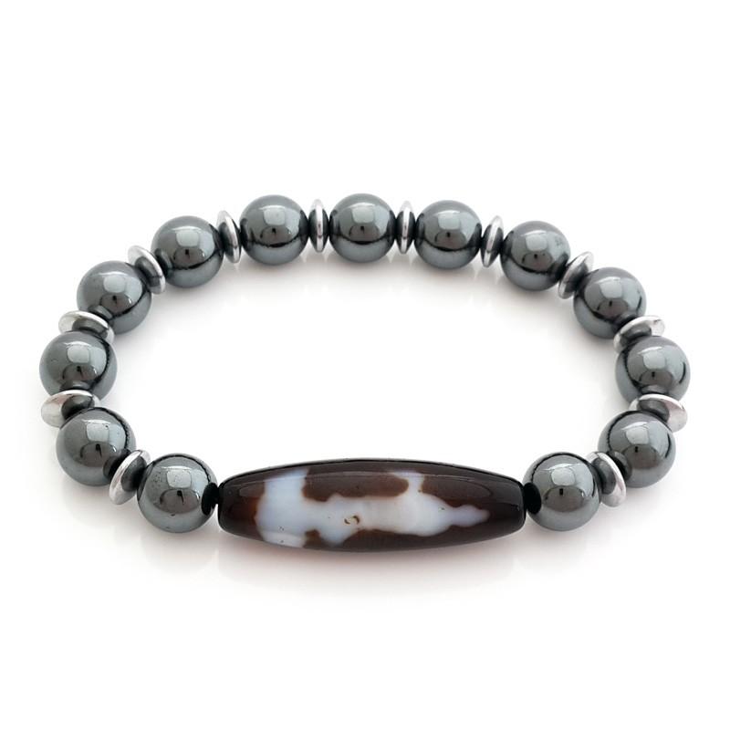 Kuan Yin Dzi Bead with 10mm Hematite Bracelet