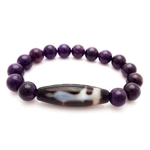 Kuan Yin Agate Dzi with Natural Amethyst Beads Bracelet