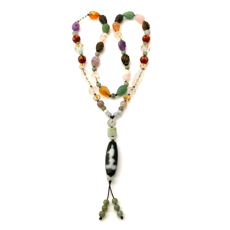 Authentic Tibetan Kuan Yin Agate Dzi Bead Necklace for Protection
