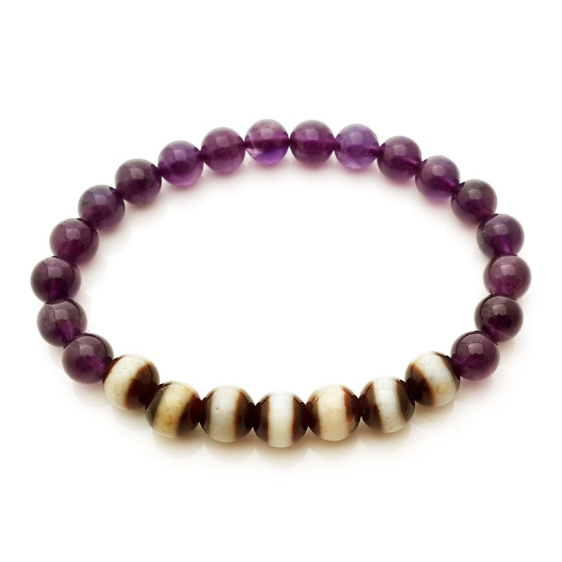 The 7 pieces of Medicine Dzi with Amethyst Bracelet