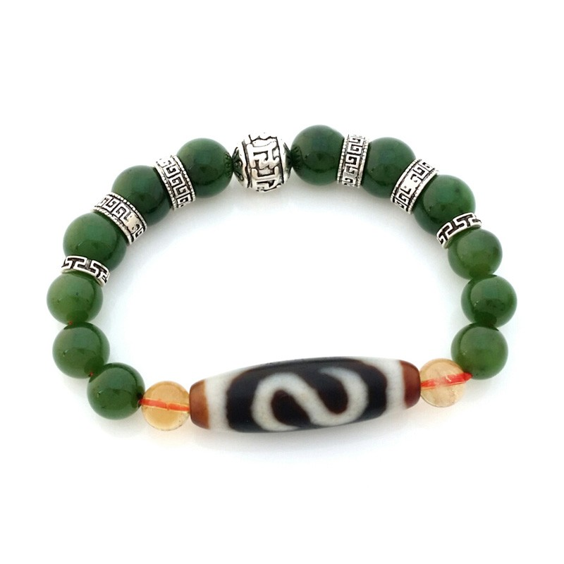 Authentic OLD Agate Dzi Bead Money Hook with Hetian Jade Feng Shui Bracelet