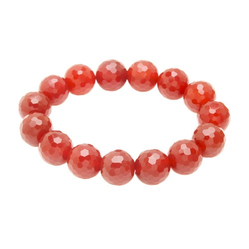 Red Agate Faceted Bracelet - 14mm