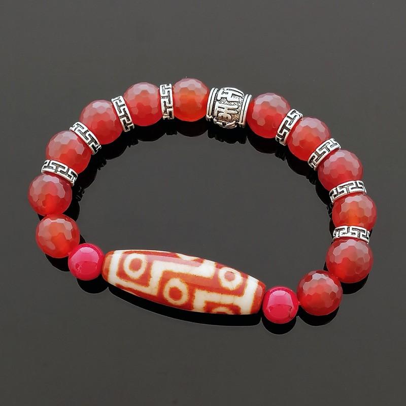 Nine Eyed Dzi Bead Bracelet